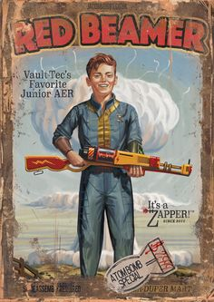 Finally finished painting my Red Ryder homage in Fallout style : gaming Fallout Posters, Fallout Rpg, Fallout Fan Art, Fallout Concept Art, Fallout Cosplay, Fallout Game, Fallout New Vegas, Bioshock Cosplay, Fallout Vault