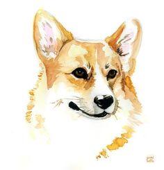 Corgi Art Print by yuminette Dog Tattoos, Animal Tattoos, Corgi Drawing, Corgi Pictures, Cute Animal Drawings, Corgi Dog, Watercolor Animals, Dog Portraits, Animal Paintings