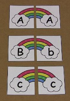 Rainbow Alphabet Puzzles--Could use for anything. Other ideas...felt board, games, magnetic games...