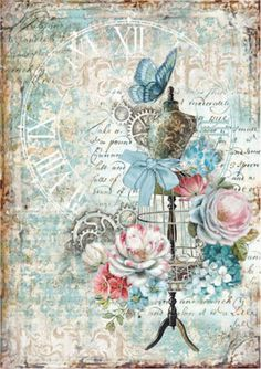 Paper Embroidery Ideas Rice Paper for Decoupage, Scrapbook Sheet, Craft Paper Mannequin and Butterflies -