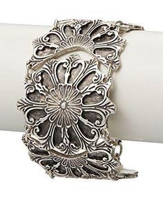 Turkish Delight Flower Disk Silver Bracelet