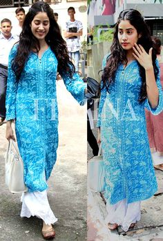 She is putting basic Indian wear separates back on the style charts. Pakistani Dresses, Indian Dresses, Indian Outfits, Western Dresses, Ethnic Outfits, Dress Indian Style, Indian Wear, Kurta Designs Women, Blouse Designs