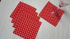 Valentine's Day Cloth Napkins Polka Dots White on Red Lunchbox Beverage Cocktail Dessert 6 Inch Set of 5 Cocktail Desserts, Wine Cocktails, Beverage Napkins, Cocktail Napkins, Christmas Cloth Napkins, Beverages, Lunch Box, Polka Dots, Valentines