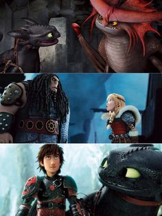 """1st - Toothless and Cloudjumper """"talking"""" 2nd - Astrid having a go at Drago 3rd - Hiccup and Toothless looking at the Dragon Sanctuary"""