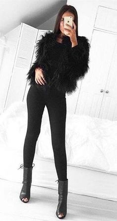 Black Faux Fur Jacket // Black Leggings // Open Toe Booties                                                                             Source
