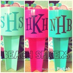 Personalized beach spikers! The perfect addition to your beach bag! We have lots of colors to choose from! Grab yours before they are gone! #heidis #monogrameverything #beachplease