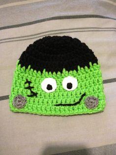 Halloween Frankenstein Crochet Beanie by astitchintime36 on Etsy, $8.00