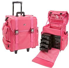 Professional Soft Sided Rolling Makeup Case w  Drawers f557346f64110
