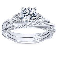 Catalina 14k White Gold Round Twisted Engagement Ring angle 4