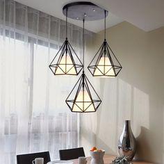 Geometric Diamond Scandinavian LED Pendant Lamp - Black/White
