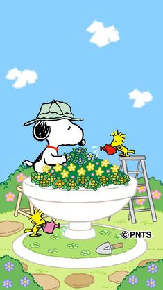 Snoopy, Woodstock, and Friends Tending a Garden in a Giant Stone Birdbath Peanuts Cartoon, Peanuts Snoopy, Peanuts Comics, Charlie Brown Et Snoopy, Snoopy Et Woodstock, Snoopy Images, Snoopy Wallpaper, Snoopy Quotes, Peanuts Quotes