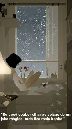Illustration by Pascal Campion I pinned this because it's a very clear use of white shades in art- the room is all in whites but the stars show up because of their shade, dreaming the illusion of a night glow. Art And Illustration, Pascal Campion, Jolie Photo, Artsy Fartsy, Mail Art, Art Drawings, Window Drawings, Art Sketches, Concept Art
