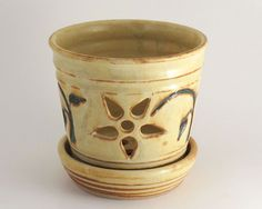 Orchid Pot  Stoneware  Soft Yellow by LomaPrietaPottery on Etsy, $35.00