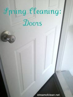 Have you looked at your doors lately? Mine need a good spring cleaning. Check out these tips and tricks for cleaning doors and walls #springcleaning #cleaning