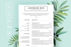 Word Resume & Cover Letter Resume Design Template, Cv Template, Resume Templates, Templates Free, Print Templates, Design Templates, Resume Cv, Resume Tips, Resume Examples