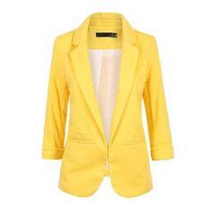 Women's Notch Lapel 3/4 Sleeve No Button Blazer Jacket ($20) ❤ liked on Polyvore featuring outerwear, jackets, blazers, lemo yellow, notch collar jacket, yellow blazer, 3/4 sleeve blazer, 3/4 sleeve jacket and three quarter sleeve blazer