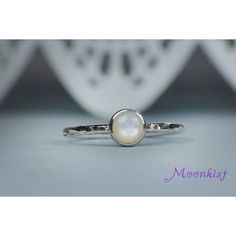 Silver Stacking Ring with a Bezel set Mother of Pearl ($45) ❤ liked on Polyvore featuring jewelry, rings, bezel set ring, stacking rings jewelry, bezel set jewelry, mother of pearl jewelry and bezel setting ring