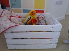 Wooden box for toys and other home goods made from reclaimed wood white