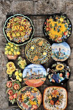 Gimignano - Tuscany Hand-painted ceramics Gorgeous Italian ceramics in Ravello, Italy-- Amalfi Coast Ravello Italy, Amalfi Italy, Capri Italy, Tuscany Italy, Home Decoracion, Italian Pottery, Southern Italy, Tuscan Style, Positano