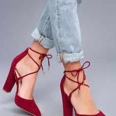Luna Wine Suede Lace-up Heels
