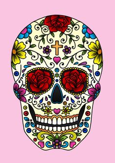... and patterns from the popular sugar skulls made for el dia de los muertos as well as some colours from la Calavaera Catrina figurines and costumes