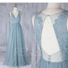 Bridesmaid Dress Dusty Blue Tulle V Neck Illusion Lace Wedding Dress,Open Back Long Prom Dress,A Line Sleeveless Maxi Dress (LS335) by RenzRags on Etsy https://www.etsy.com/au/listing/526898894/bridesmaid-dress-dusty-blue-tulle-v-neck