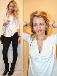 simple but cute winter going out outfit idea- loose wavy hair, white Gap tee, black ultra warm Nike leggings, black Target cowboy boots, black Gap purse. Jewelry- (silver, black, and gold) bracelets, earrings, and key necklace. finished with red lipstick!