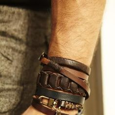 STYLE TIP: If you are not so sure how you are going to stack your bracelets, you can use colors in the same family. All brown or all black. ---> FOLLOW US ON PINTEREST for Style Tips, Men's Basics, Men's Essentials on anything, OUR SALES etc... ~ VujuWear
