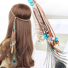 Ac Indiana Princess Peacock Feather Head Chain for Girl Fashion Headband for Women Blue ** Find out more about the great product at the image link. (This is an affiliate link) Feather Jewelry, Hair Jewelry, Feather Hair, Feathered Hairstyles, Boho Hairstyles, Fashion Hairstyles, Beautiful Hairstyles, Chain Headband, Tribal Hair