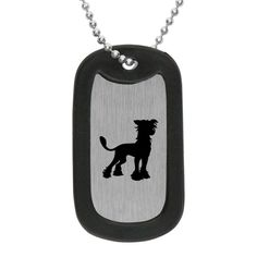 Chinese Crested Dog Tag Necklace w/ silencer