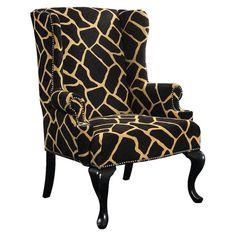 Breyla Giraffe print Wingback Chair *LOVE* #chair #furniture #home #decor #office #livingroom