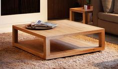 Decorations Light Square Coffee Table Brown Minimalist Stained Varnished Fur Carpet Living Room