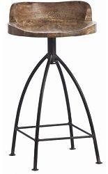 "Wood/Iron Swivel Counterstool, 28""H"