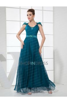 A-line Chiffon Scoop Prom Dresses #formal #dresses #chiffon #prom #party
