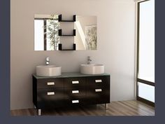 Design Element Dec350 Wellington 55 inch Double Sink Vanity Set in Espresso