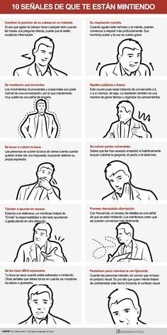 10 señales de que te están mintiendo #infografia #infographic #psychology