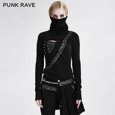 Punk rave Goth Black Women Top Fashion Victorian Kera Tee Shirt Visual Kei