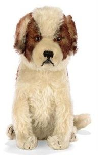 STEIFF HEAD-TURNING ST. BERNARD, brown-tipped white and white mohair, brown and black glass eyes, black stitching, squeaker, tail-operated head turning mechanism and FF button with red tag, circa 1932.