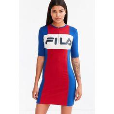 FILA + UO Kiki Bodycon Mini Dress ($79) ❤ liked on Polyvore featuring dresses, colorblock bodycon dress, color block dress, high neck short dresses, sport dress and high neck bodycon dress
