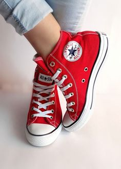 Star Red High Top - shoes sssss -Converse All Star Red High Top - shoes sssss - Red Converse High-tops Red Converse High-tops. Converse Shoes Sneakers I like this. Do you think I should buy it? Red High Top Converse, High Top Sneakers, Red Sneakers, Converse Chuck Taylor All Star, Converse All Star, Converse Sneakers, Red Chucks, High Heels, Sneakers Women