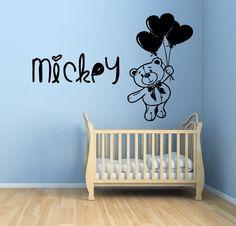 Wall Decals Personilized Name Teddy Bear Balloon Vinyl Sticker Mural Decor KG136