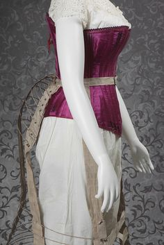 LaFiancée style fuchsia satin corset, ca. Steel cage bustle crinoline, Off-white muslin chemise, ca. Off-white cotton drawers, ca. (this corset is such a beautiful color! 1880s Fashion, Victorian Fashion, Vintage Fashion, Vintage Underwear, Vintage Lingerie, Historical Costume, Historical Clothing, Bustle Dress, Leather Corset