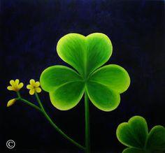 "Shamrock Painting.  Irish.  ""Dreams Come True"" Acrylic painting."