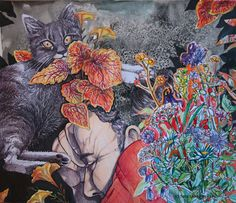 Herkkupurkki: kollaasipikkukimalainen.blogspot.com  drawing, portrait,collague, shame, sleep, rest, old, cat By: Satu Laaninen Ballpoint Pen, My Works, Collages, Sleep, Draw, Ink, Pictures, Painting, Photos