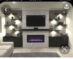 Living Room With Fireplace, New Living Room, Living Room Decor, Cozy Living, Fireplace Wall, Fireplace Design, Fireplace Drawing, Fireplace Mantles, Tv Wanddekor
