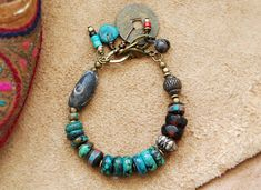 bohemian bracelet gypsy bracelet turquoise bohemian by OmSaha Gypsy Bracelet, Bohemian Bracelets, Bohemian Jewelry, Handmade Bracelets, Jewelry Bracelets, Jewellery Box, Tribal Bracelets, Stone Bracelet, Handmade Jewelry
