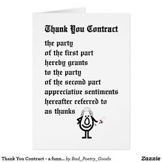 Thank You Contract - a funny legal thank you poem | Zazzle.com