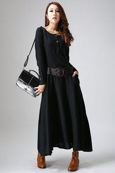 Black dress maxi linen dress woman's long sleeve dress di xiaolizi, $99.00