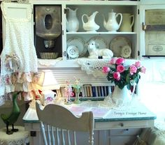 The Country Farm Home: I'll Take a Hoosier Cabinet for a kitchen desk