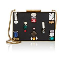 Lanvin Women's Embellished Minaudière (22.840 ARS) ❤ liked on Polyvore featuring bags, handbags, clutches, no color, strap purse, lanvin purse, multi colored handbags, multi color purse and multi colored purses